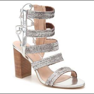 Charles David Ella Silver Strappy Wedge Sandal